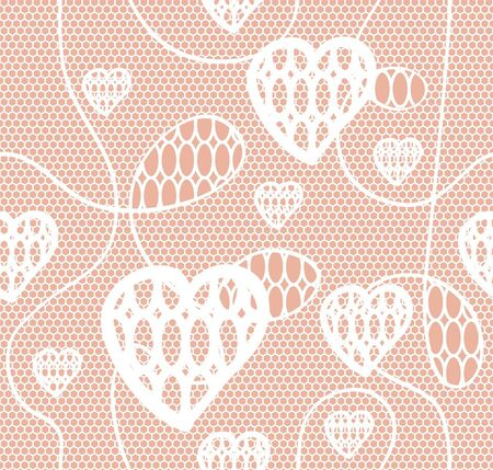 White lace  fabric seamless  pattern with hearts Vector