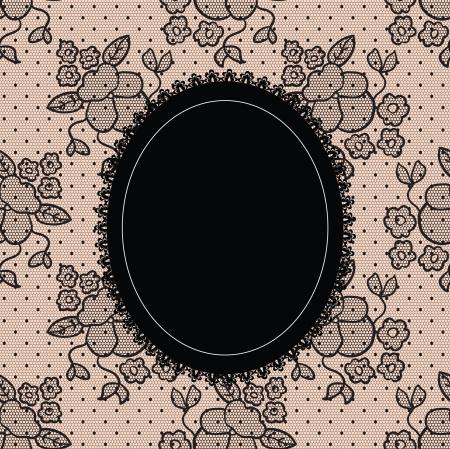 Black elegant doily on lace background  Ilustração