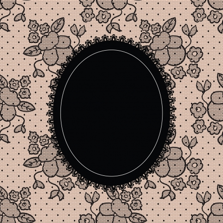 round: Black elegant doily on lace background  Illustration