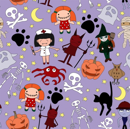 Halloween characters seamless pattern. Vector