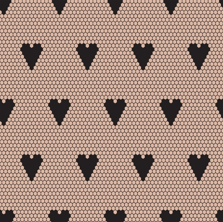 Black lace  fabric seamless  pattern with hearts Illustration