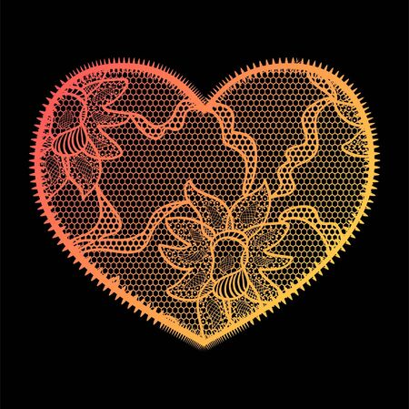 tatting: Lace heart gradient applique. May be used as decoration.