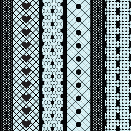 Black lace ribbons  fabric seamless  pattern with hearts Vector