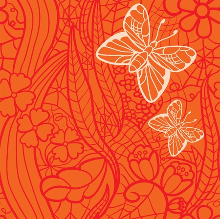 Seamless lacy pattern with flowers and butterflies.  Vector