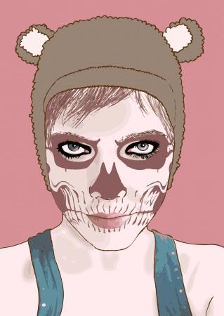 make up: Halloween maquillage zombie girl mignon Illustration