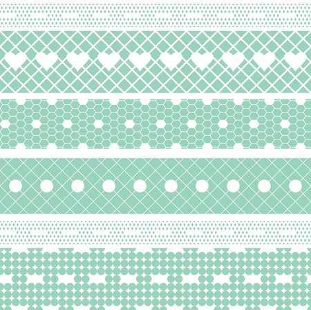 handwork: White lace ribbons vector fabric seamless  pattern with hearts Illustration