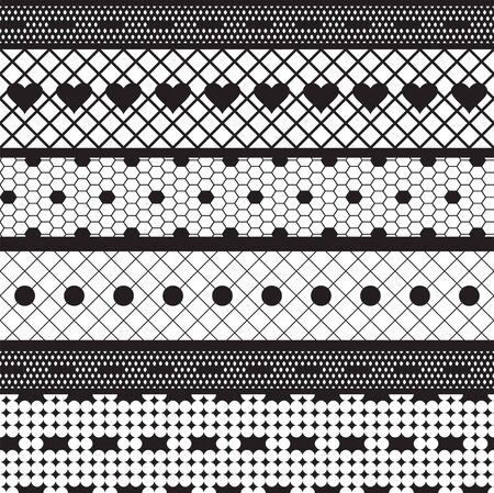 Black lace ribbons vector fabric seamless  pattern with hearts Vector