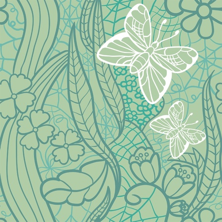 Seamless lacy pattern with flowers and butterflies  Vector illustration  Vector