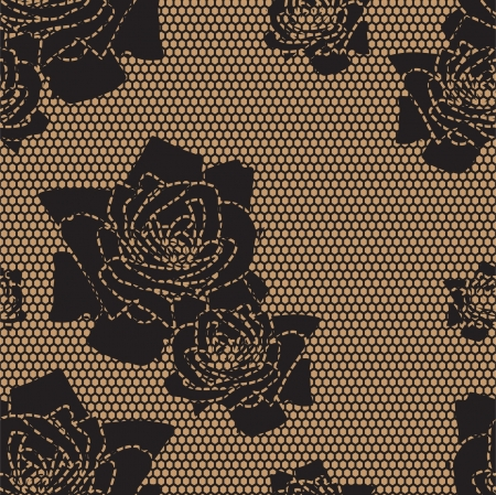 Black lace vector fabric seamless  pattern with roses Vector