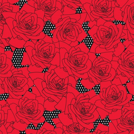 lace vector: Lace vector fabric seamless  pattern with roses Illustration