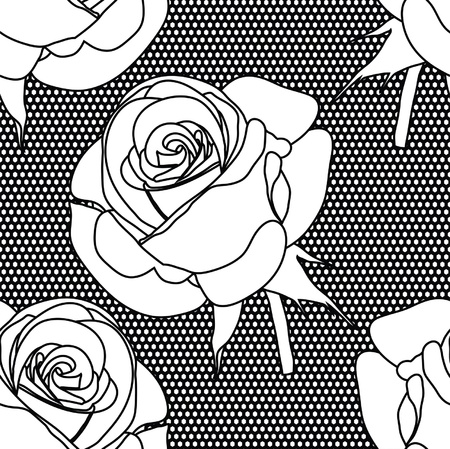 ornate heart: Lace vector fabric seamless  pattern with roses Illustration