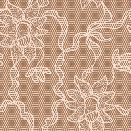 vector fabric: Beige lace vector fabric seamless  pattern with orchids Illustration