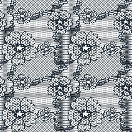 needlecraft: Black lace vector fabric seamless  pattern with FLOWERS Illustration