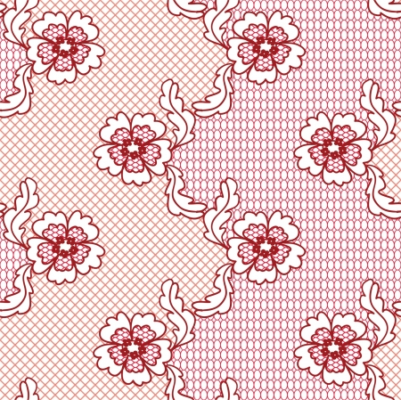 Red lace vector fabric seamless  pattern with flowers Vector