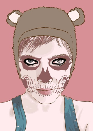scary girl: Halloween make up. Vector illustration.Cute zombie girl. Illustration