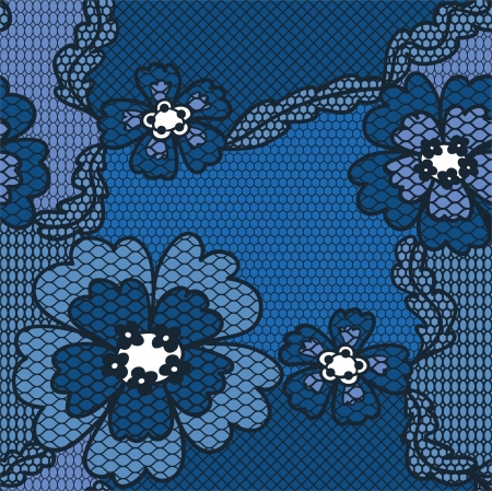needlecraft: Blue lace vector fabric seamless  pattern with flowers
