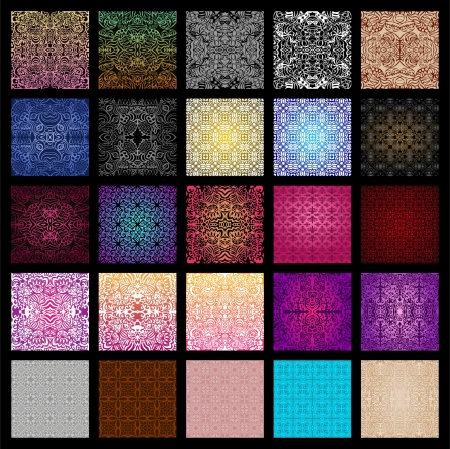 Big collection of 25 vector seamless patterns in different colours Illustration