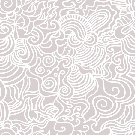 sheepskin: Seamless abstract hand-drawn vector pattern, waves hair background