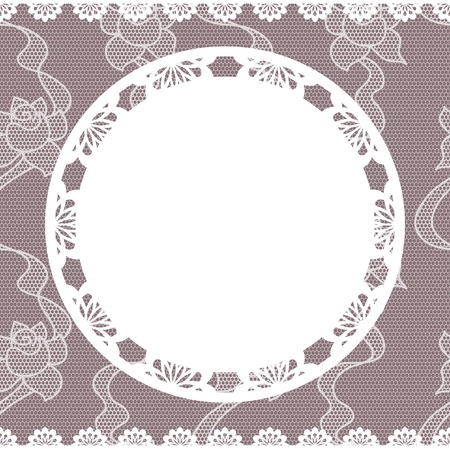 circular chain: Elegant doily on lace gentle background for scrapbooks Illustration