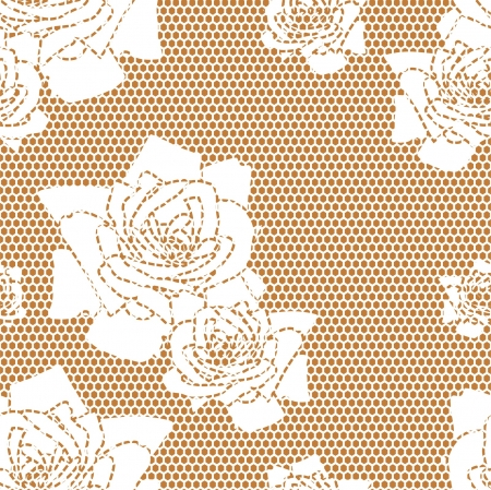 Lace  fabric seamless  pattern with roses Vector