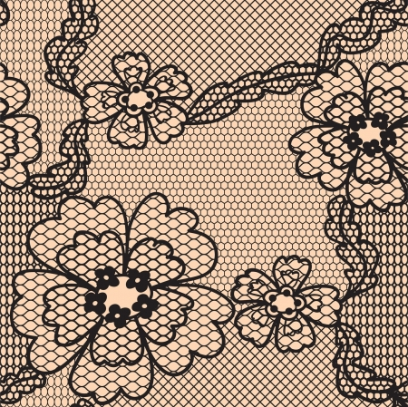 black lace: Lace  fabric seamless  pattern with flowers Illustration