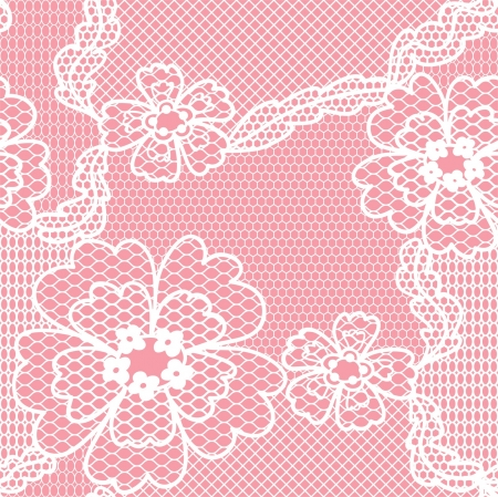 Lace  fabric seamless  pattern with flowers Vector