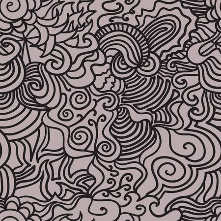 Seamless abstract hand-drawn  pattern, waves hair background Stock Vector - 16473196