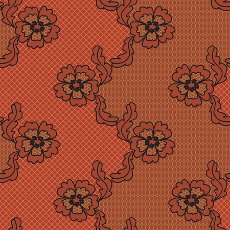 Red lace  fabric seamless  pattern with flowers Vector