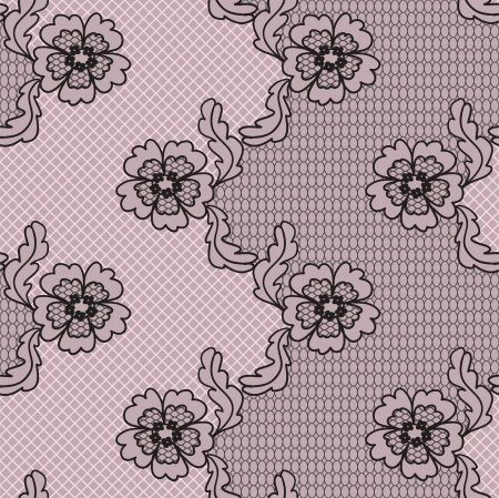 Black lace  fabric seamless  pattern with FLOWERS Vector