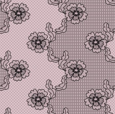 lavoro manuale: Nero tessuto fantasia pizzo senza soluzione di continuit� con i fiori