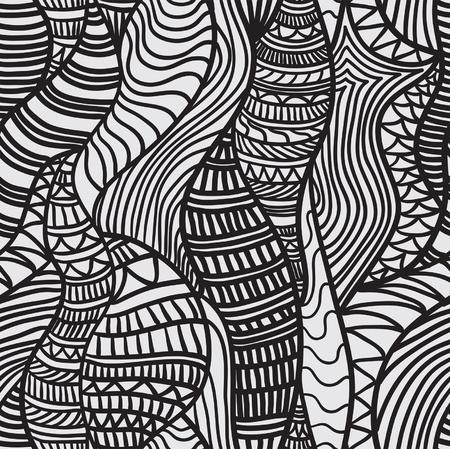 Dibujado a mano patrón transparente con diversos elementos, líneas, ondas