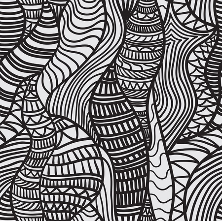 psychedelic background: Hand drawn seamless pattern with various elements, lines, waves