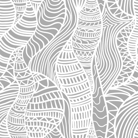 Hand drawn seamless pattern with various elements, lines, waves Vector