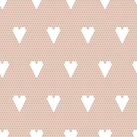 trabajo manual: Encaje blanco patrón de la tela transparente con corazones Vectores