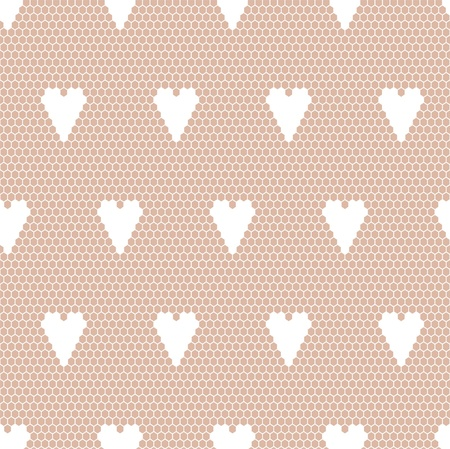 handwork: White lace  fabric seamless  pattern with hearts Illustration