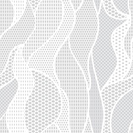 White lace  fabric seamless pattern with lines and waves Vector