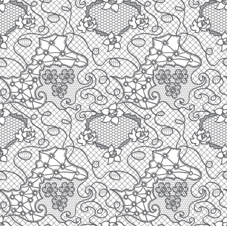 Grey lace seamless pattern with flowers on white background Vector