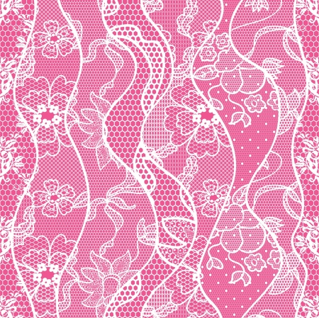 lace fabric: Lace seamless pattern with flowers on pink background