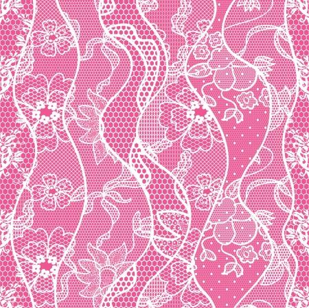 lavoro manuale: Pizzo seamless pattern con fiori su sfondo rosa