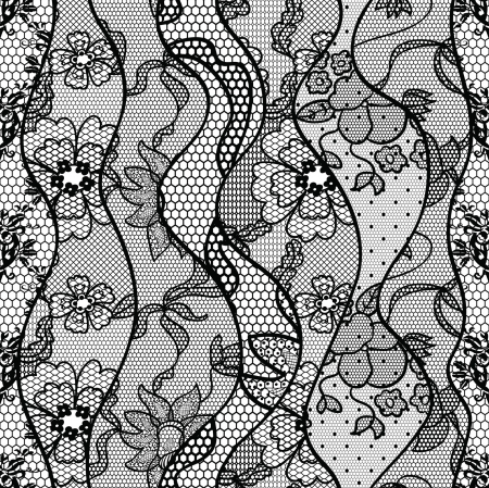 gothic: Black lace  fabric seamless pattern with lines and waves