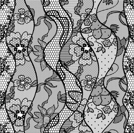 trabajo manual: Cordón negro patrón de la tela transparente con líneas y ondas