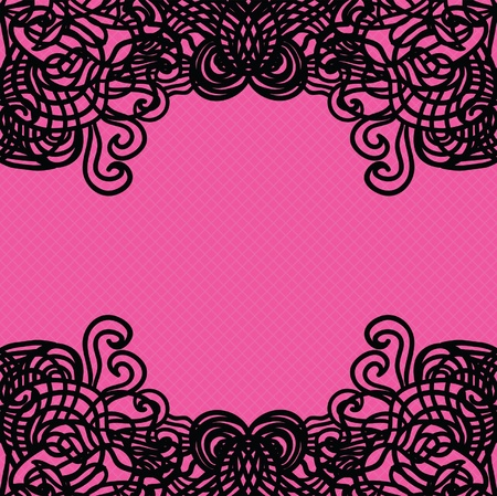 Vector black lace on texture, template. Stock Vector - 16540484