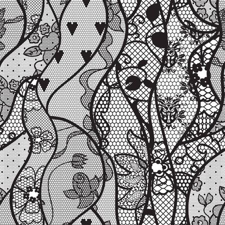 black lace: Black lace vector fabric seamless pattern with lines and waves Illustration