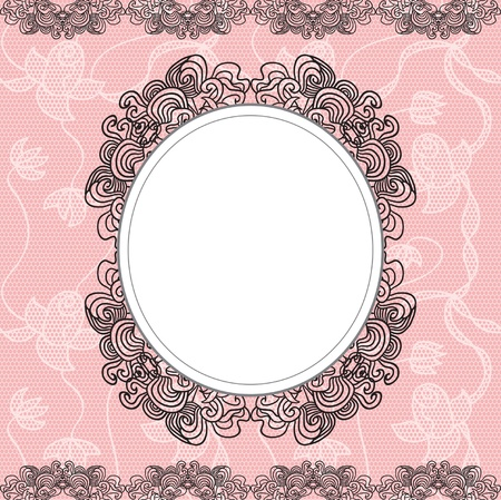 baroque style: Elegant doily on lace gentle background for scrapbooks Illustration