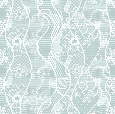 lace background: Lace seamless pattern with flowers on blue background