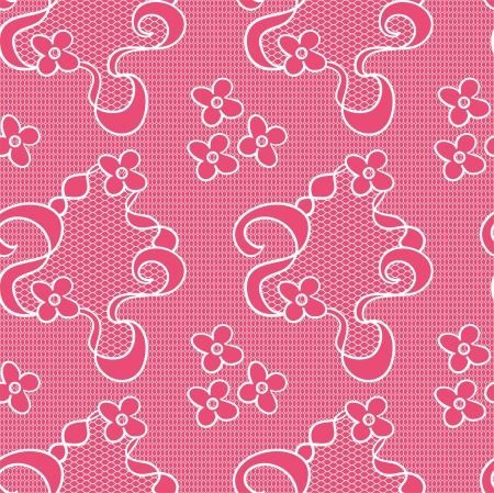 Lace seamless pattern with flowers on pink background Stock Vector - 16569400