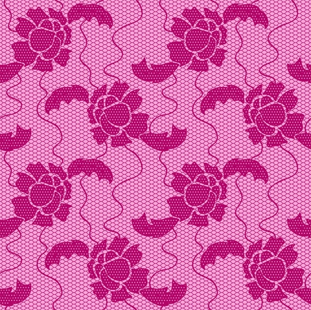 handiwork: Lace seamless pattern with flowers on pink background