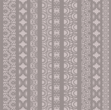 Lace ribbons fabric seamless  pattern with different stripes Vector