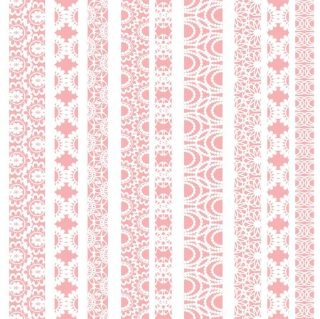 needlecraft: Lace ribbons fabric seamless  pattern with different stripes