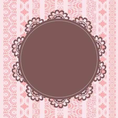 circular chain: Elegant doily on lace background for scrapbooks